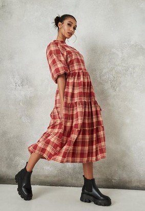Missguided Red Plaid Puff Sleeve Midi Smock Dress