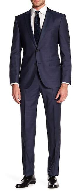 BOSS Hutson Gander Notch Lapel Flat Front Solid 2-Piece Suit
