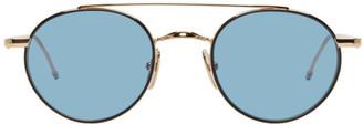 Thom Browne Gold and Black TB-101 Sunglasses