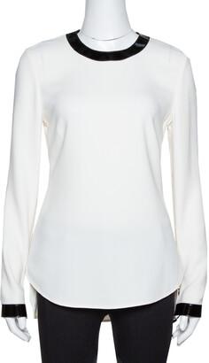 Ralph Lauren Off White Crepe Contrast Leather Trim Blouse S