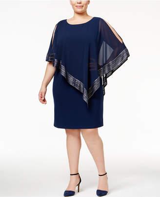 SL Fashions Plus Size Chiffon Overlay Sheath Dress
