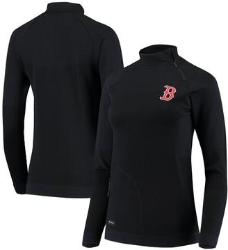 Women's Levelwear Navy Boston Red Sox Verse Asymmetrical Tri-Blend Quarter-Zip Jacket