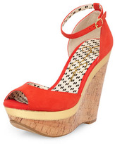 Jessica Simpson Red leather ankle strap cork wedges