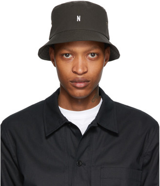 Norse Projects Khaki Seersucker Bucket Hat