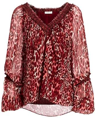 Ramy Brook Bea Leopard Print Balloon-Sleeve Silk Blouse