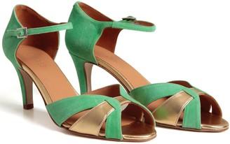 Emma.Go Emma Go - Green & Gold Astrid Suede Sandal - 37 - Green
