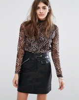 B.young Leopard Print High Neck Top