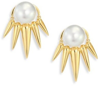 Nikos Koulis Spectrum 16MM White Tahitian Pearl 18K Yellow Gold Ear Jacket Stud Earrings Set