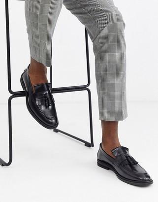 Walk London west tassel loafers in black high shine
