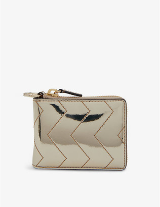 Sandro YZA quilted metallic-leather wallet