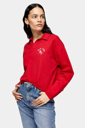 Topshop Red Long Sleeve New York Rugby Top