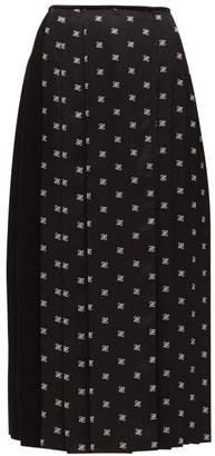 Fendi Ff-print Silk-twill Pleated Skirt - Womens - Black White