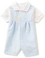 Starting Out Baby Boys Newborn-9 Months Short-Sleeve Polo Shirt & Animal Embroidered Lined Shortall