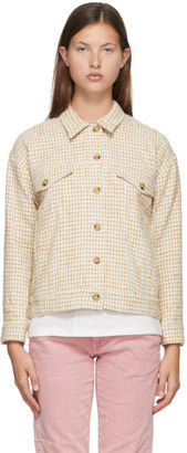 6397 Yellow and White Houndstooth Jacket