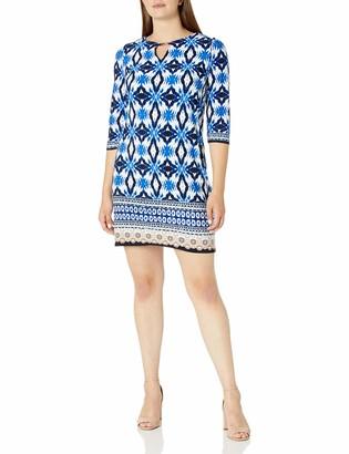 Sandra Darren Women's 1 Pc 3/4 Sleeve All Over Printed Ity Shift Dress
