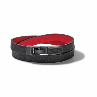 Bulova Mens Precisionist Large Black Leather Double-Wrap Bracelet with Red Contrasting Lining and Black Diamond Accents (Model J98B001L)