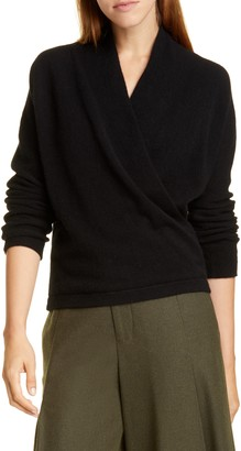 Vince Wrap Front Long Sleeve Cashmere Sweater