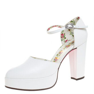 Gucci White Leather Agon Block Heel Platform Pumps Size 39
