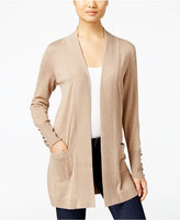 JM Collection Petite Open-Front Button-Sleeve Cardigan, Only at Macy's