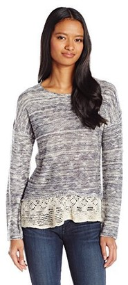 Jolt Women's Knit Sweater with Lace Detail