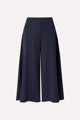 The Row Mildro Cropped Ribbed Stretch-knit Wide-leg Pants - Navy