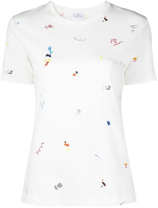 Paul Smith watercolour-print round neck T-shirt