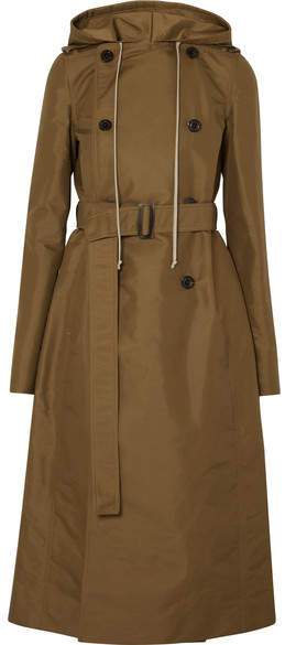 Rick Owens Hooded Shell Trench Coat - Army green