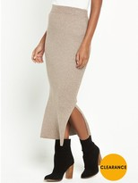Warehouse Ribbed Skirt Co-Ord Skirt - Neutral