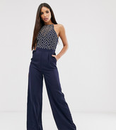 Little Mistress Tall geo lace top jumpsuit in navy