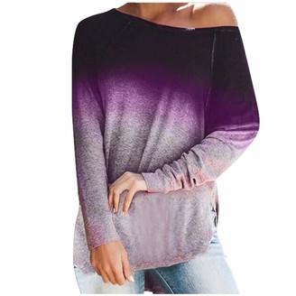Kolila Women Long Sleeve Tops kolila Women's Off Shoulder Tops Long Sleeve Twist Knot Shirts Sweater Loose Pullover Knit Jumper Oversized Basic Tunics(Purple L)