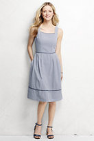 Lands' End Women's Seersucker Sundress-Light Graphite