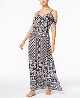 INC International Concepts Printed Cold-Shoulder Maxi Dress, Only at Macy's