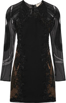 Emilio Pucci Embellished tulle and wool and silk-blend twill mini dress