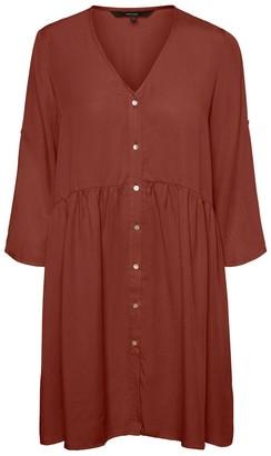 Vero Moda Short Button-Through Dress with 3/4 Length Sleeves