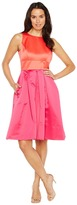Sangria Color Blocked Satin Fit and Flare with Pockets
