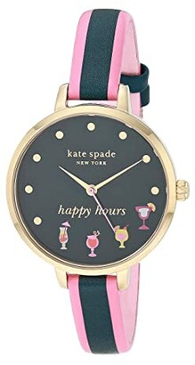 Kate Spade Metro Three Hand Leather Watch (Pink/Navy) Watches