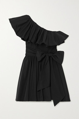 Valentino Belted One-shoulder Ruffled Twill Mini Dress - Black