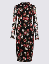 M&S Collection PETITE Floral Lace Long Sleeve Bodycon Dress