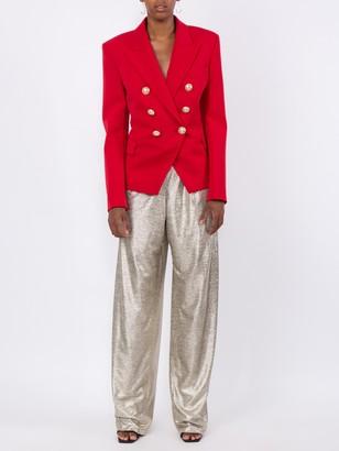Balmain Classic Peaked Lapel Blazer Red