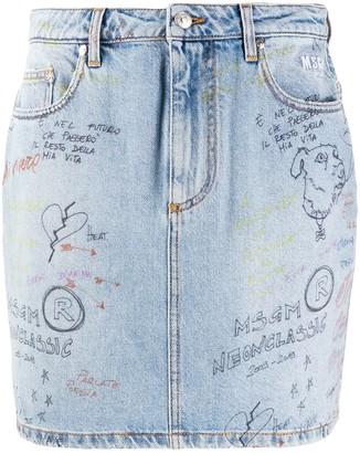 MSGM Doodle Denim Mini Skirt