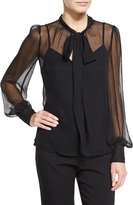 Nanette Lepore Long-Sleeve Silk Chiffon Tie-Neck Top, Black