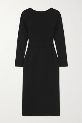 Dolce & Gabbana Bow-detailed Wool-crepe Dress - Black