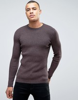 New Look Ribbed Jumper In Burgundy