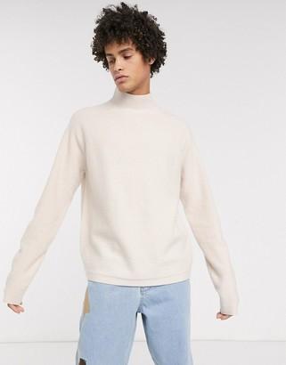 ASOS boxy jumper in beige boiled wool