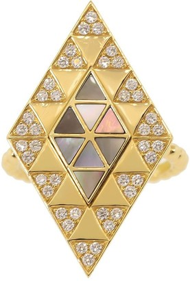 Harwell Godfrey 18kt Yellow Gold Diamond Shield Ring