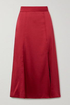 Stine Goya Jada Satin Midi Skirt - Crimson