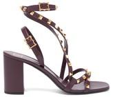 Valentino Garavani - Rockstud Flair Leather Sandals - Womens - Burgundy