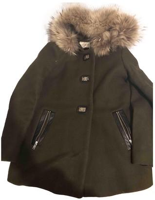 Sandro Khaki Wool Coat for Women