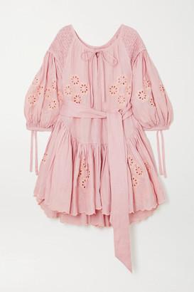 Innika Choo Meg Nettick Ruffled Shirred Broderie Anglaise Linen Mini Dress - Pink