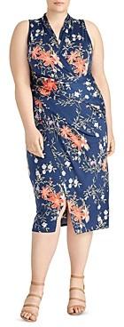 Rachel Roy Plus Bret Ruched Lily Print Jersey Dress